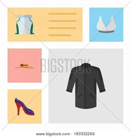 Flat Dress Set Of Brasserie, Trunks Cloth, Heeled Shoe And Other Vector Objects. Also Includes Breast, Trunks, Shoes Elements.