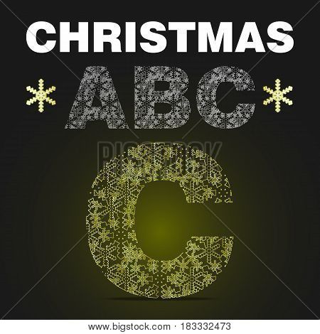 The alphabet letter C from gold snowflakes. Vector christmas abc on black background with yellow light
