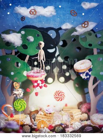 Wonderland - flying sweets. A magic country of sweets