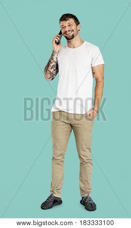 Adult Man Using Talking on Mobile Phone Studio Portrait