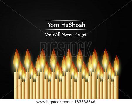 Illustration of background for Jewish Yom HaShoah Remembrance Day