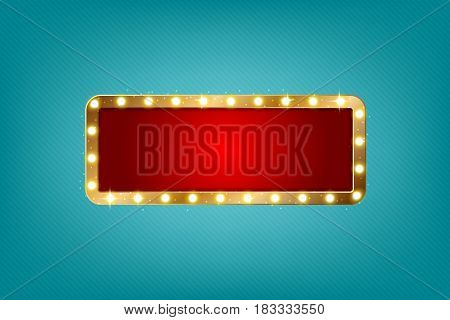 Retro light sign horizontal. Vintage style banner with copy space. Vector illustration.