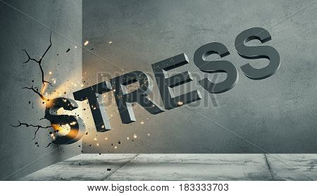 3d illustration of volumetric stress word letters crashes into the concrete wall with rays of light. Crackes on the wall in the corner of the room. 3d rendering.