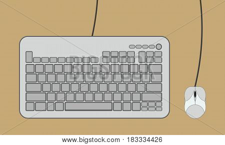 Keyboard and Computer Mouse isolated on background. Vector illustration. Eps 10.
