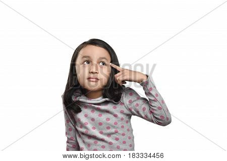 Cheerful Asian Girl Looking Up Thinking Looking For Idea Or Clues