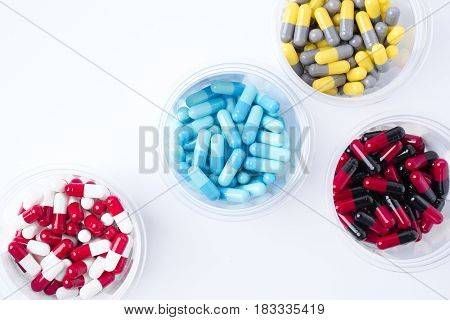 pile of medical pills and pills on background