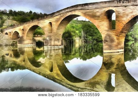 Colorful painting of medieval bridge, Navarra, Spain