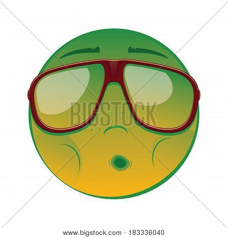 Emoticon with nausea in a sunglasses on white background. Vector illustration.