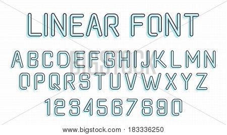 Vector linear font. Simple and minimalistic line style