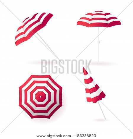 Beach sun umbrellas collection. Red striped awning. Vector illustration.