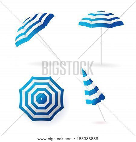 Beach sun umbrellas collection. Blue striped awning. Vector illustration.