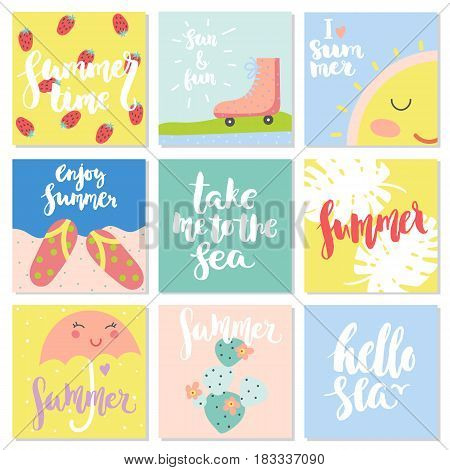 Vector set of funny summer cards. Beautiful summer posters with cactus strawberry flip-flops skates sun palm leaves phrases