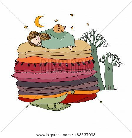Princess on the Pea. Blankets and pillows. isolated objects on white background. Vector illustration.