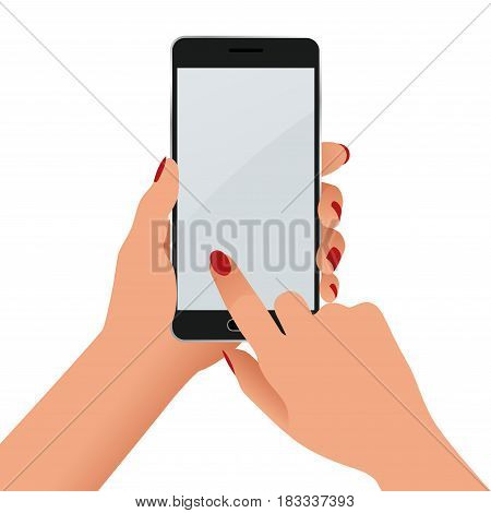 Female hand holding a phone with blank screen. Flat Isolated illustration on white background.