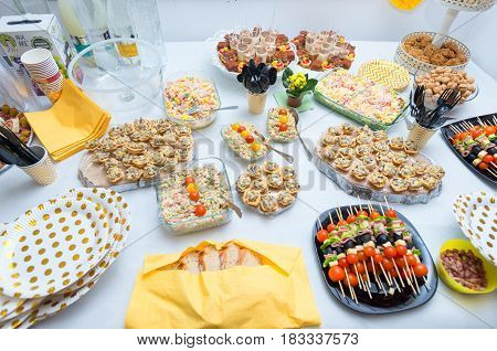 mix appetizer at wedding table. close details
