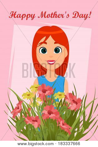 Happy Mother's Day greeting card. Cute cartoon woman with a bouquet of flowers. Stock vector