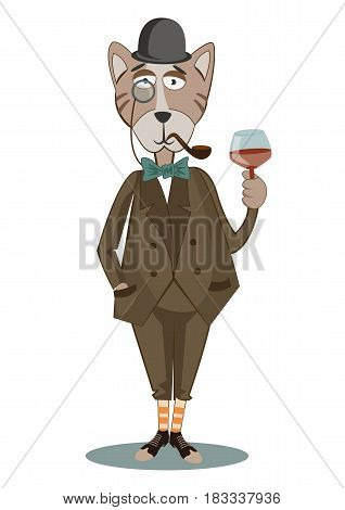 Fashion Illustration of dressed up cat, in hat with whiskey.