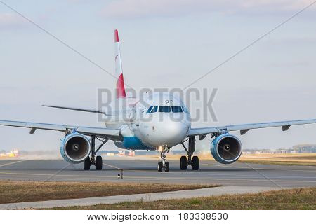 Borispol Ukraine - October 23 2011: Austrian Airlines Airbus A319-112 taxiing to the runway in the airport for takeoff