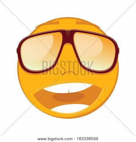 Emoticon smiling in a sunglasses on white background. Vector illustration.