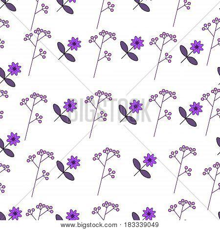 Flower illustration pattern little cute flowers purple