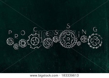 Set Of Different Gearwheels With Processing Text