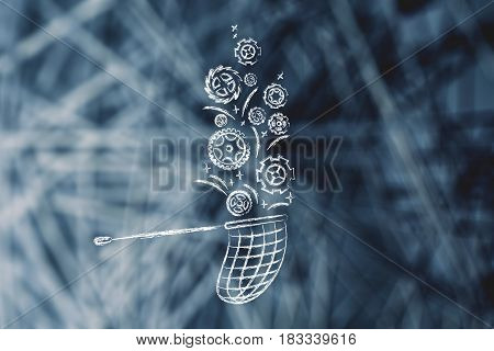 Butterfly Net Catching Gearwheels, Customization Needs Concept