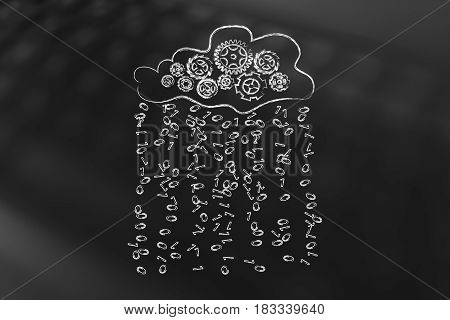 Cloud With Gearwheel Mechanism Annd Binary Code Rain