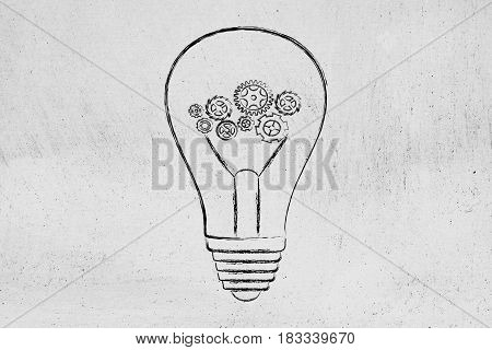 Complex Gearwheels Mechanism Inside Lightbulb