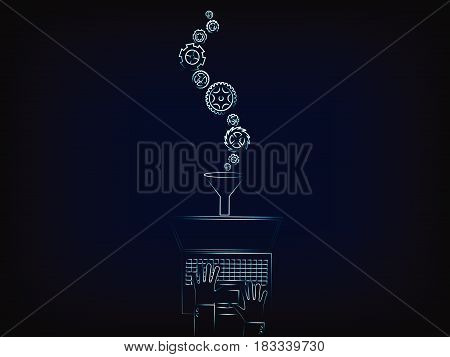 gearwheels falling into laptop through funnel, concept of customizing or adding new settings to your device (vector illustration with neon effect on mesh background)