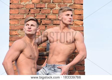 young handsome twins with sexy muscular athletic strong body has bare torso and strong belly posing with serious face on brick wall background