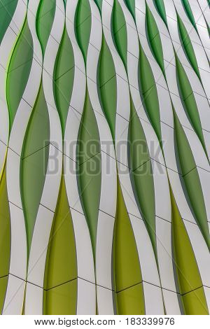GRONINGEN, NETHERLANDS - APRIL 1, 2013: Green, yellow and silver curves of the university hospital in Groningen, the Netherlands