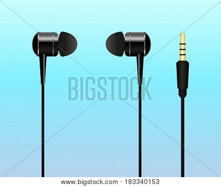 Vacuum earphones isolated on white background. Vector illustration. Eps 10.