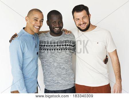 Diversity Men Stand Together Face Expression Studio Portrait