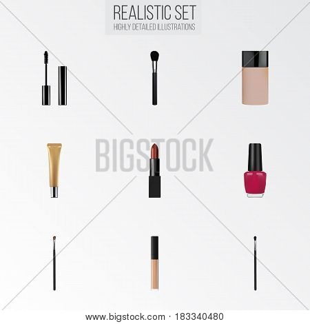 Realistic Beauty Accessory, Make-Up Product, Eye Paintbrush And Other Vector Elements. Set Of Maquillage Realistic Symbols Also Includes Polish, Pomade, Skincare Objects.