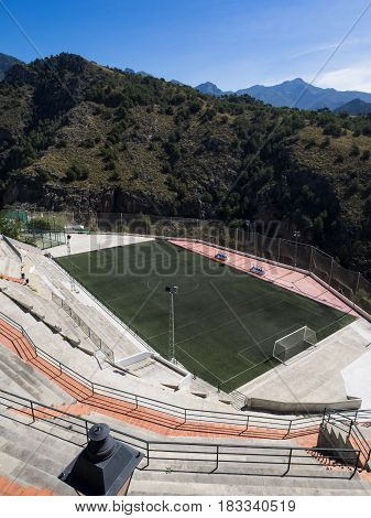 Football pitch in the mountains of Andalusia Spain