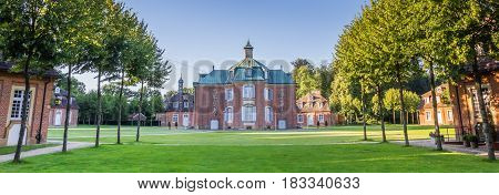 SOGEL, GERMANY - JULY 19, 2016: Panorama of the main building of the Clemenswerth castle in Sogel, Germany