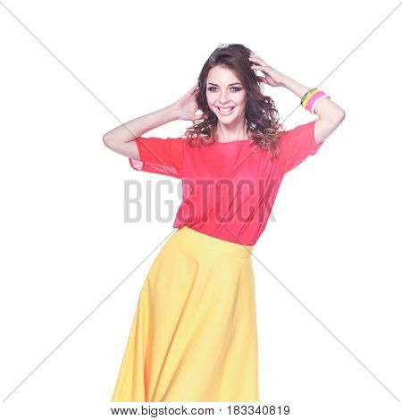 Beautiful woman with curly hair wearing a red jacket, isolated on white