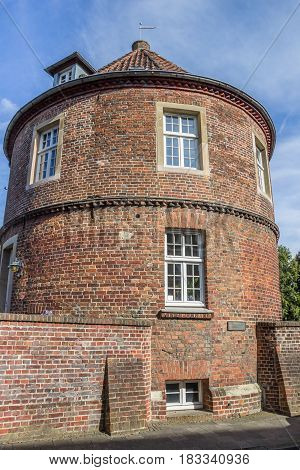 COESFELD, GERMANY - AUGUST 17, 2016: Old city wall with tower Pulverturm in Coesfeld, Germany
