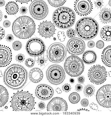 Seamless pattern of abstract mandala on a white background. Oriental ornament. Template for carpet, shawl, wallpaper, embroidery.