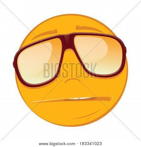 Emoticon sad in a sunglasses on white background. Vector illustration.
