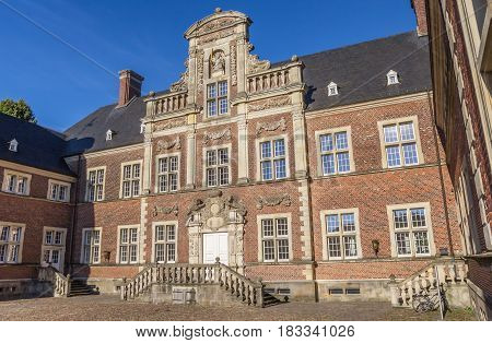 AHAUS, GERMANY - AUGUST 17, 2016: Courtyard of the baroque castle in Ahaus, Germany