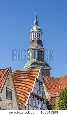 QUAKENBRUCK, GERMANY - AUGUST 25, 2016: Tower of the St. Sylvester church in Quakenbruck, Germany