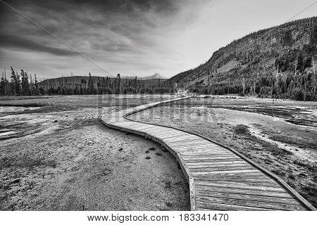 Wooden Bridge Over Steamy Terrain In Yellowstone National Park.