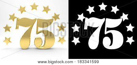 Golden number seventy five on white background with drop shadow and alpha channel decorated with a circle of stars. 3D illustration