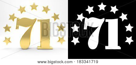 Golden number seventy one on white background with drop shadow and alpha channel decorated with a circle of stars. 3D illustration