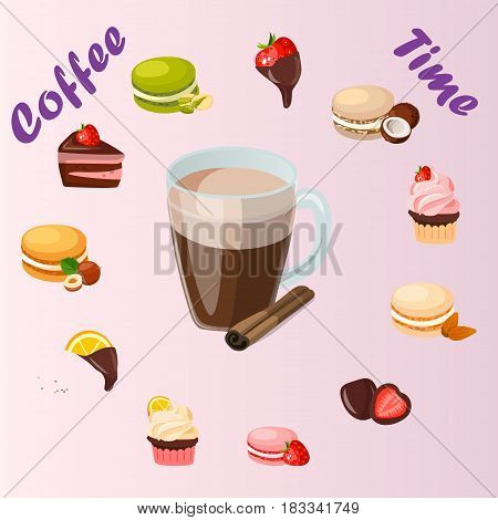Very high quality original trendy vector illustration cup of cinamon coffee and sweets