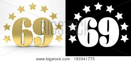 Golden number sixty nine on white background with drop shadow and alpha channel decorated with a circle of stars. 3D illustration