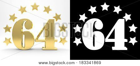 Golden number sixty four on white background with drop shadow and alpha channel decorated with a circle of stars. 3D illustration