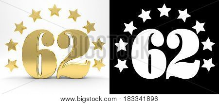 Golden number sixty two on white background with drop shadow and alpha channel decorated with a circle of stars. 3D illustration