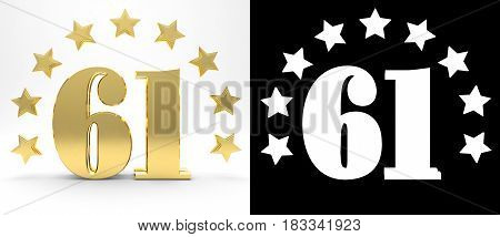 Golden number sixty one on white background with drop shadow and alpha channel decorated with a circle of stars. 3D illustration